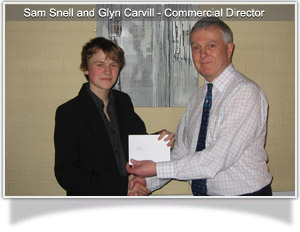 Glyn Carvill presents sponsorship to Sam Snell
