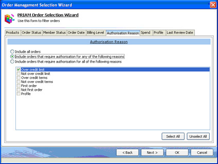 Order management selection wizard authorisation reason screen